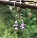 Fashionable Sterling Silver and Amethyst Earrings