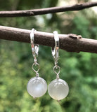 Sterling Silver and Gray Moonstone Earrings