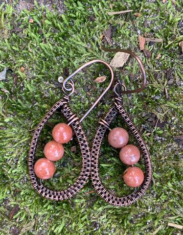 Chili Jasper and Copper Earrings