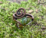 Moss Agate and Copper Ring - adjustable