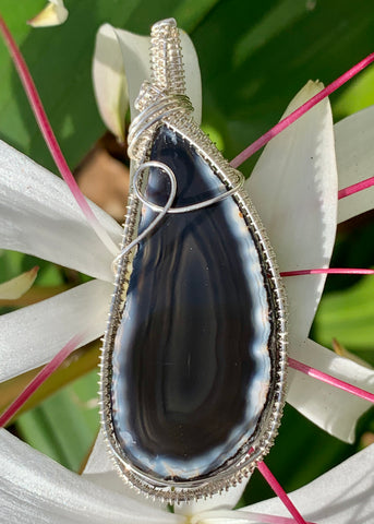 Black Agate Slice wrapped in Sterling and Fine Silver