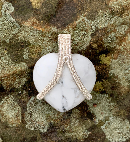Howlite Heart in Sterling and Fine Silver