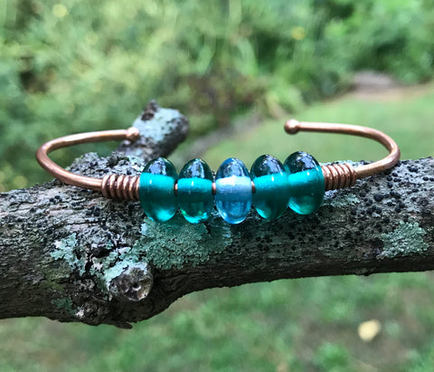 Colorful Copper Bracelet with Glass Beads