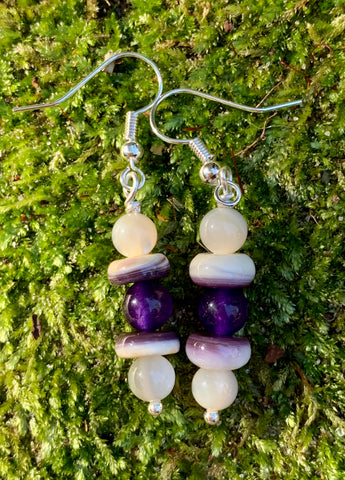 Sterling Silver, Mother of Pearl, Spiny Oyster, and Amethyst Earrings