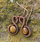 Woven Copper and Bronzite Earrings
