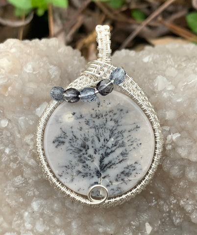 Lovely Burro Creek Agate Pendant with natural tree formation dendrites, wrapped in Sterling (.925) and Fine (.999) Silver with Czech Glass Accent Beads.