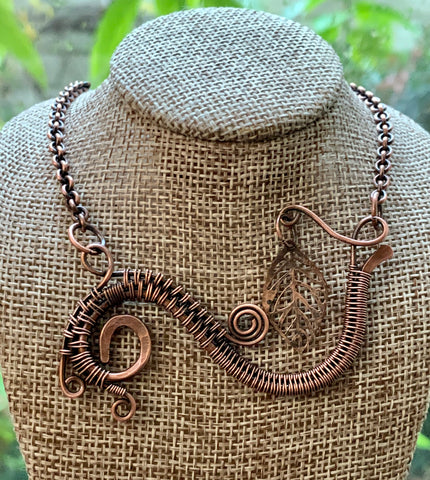 Organic Copper Leaf Necklace