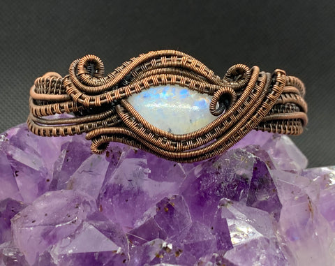 Copper and Rainbow Moonstone adjustable Bracelet
