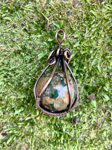 Rainforest Jasper Sphere Pendant in Copper