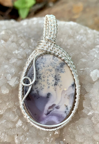 Beautiful Swirling Purple Burro Creek Agate with Dendrites Pendant in wire wrapped Sterling (.925) and Fine (.999) Silver.