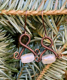 Rose Quartz and Coiled Copper Earrings