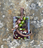 Epidote in copper with Dumortierite and green Glass beads