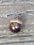Glass Acorn Pendant with Copper Bail
