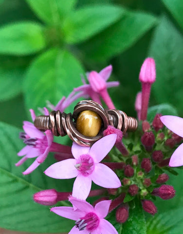 Tiger Eye and Copper Ring - Size 7 1/2""