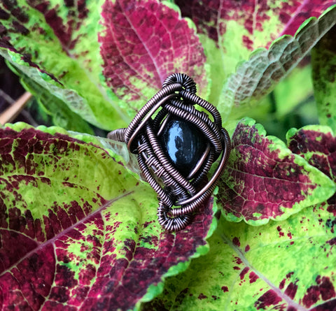 Black Star Diopside Ring in Copper - size 7 1/2