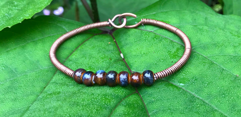 Porcelain Beads and Copper Bracelet