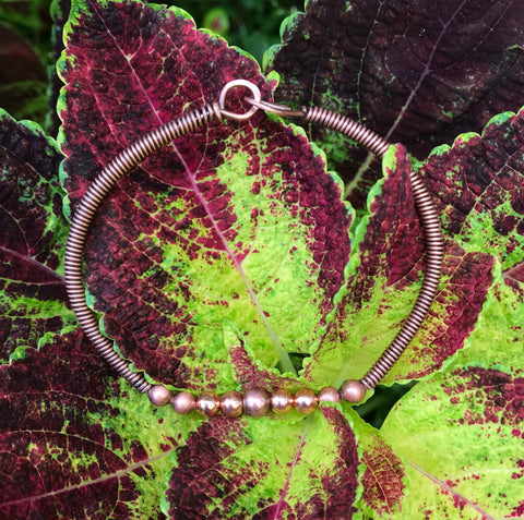 Copper Bead and Coiled Copper Bracelet