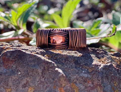 Swarovski Crystal and Copper Ring - size 8 1/2
