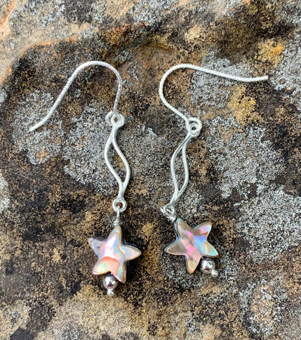 Abalone Shell Star Earrings in Sterling Silver with Sterling Glitter ear wires.