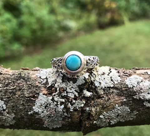 Sleeping Beauty Turquoise Sterling Silver Ring - adjustable