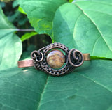 Striking Cherry Creek Jasper Woven Copper Cuff