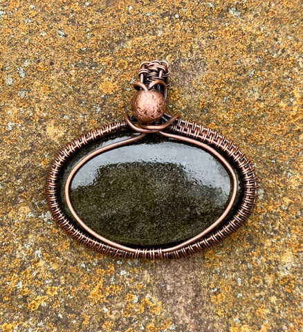 Golden Obsidian wrapped in Copper