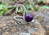 Sterling Silver and Charoite Ring - adjustable