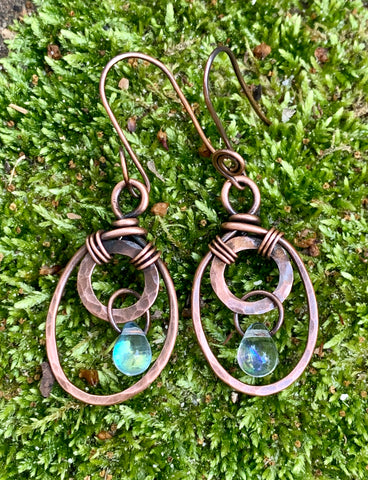 Hammered Copper Crystal Drop Earrings
