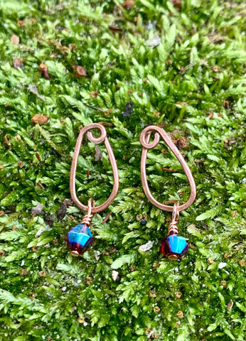 Copper and Iridescent Crystal Earrings