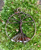 Copper and Agate Tree of Life Pendant