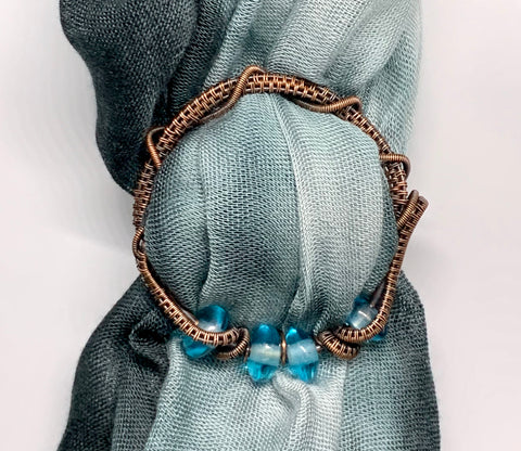 Copper Scarf Slide with Blue Glass Beads
