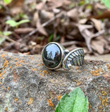 Sterling Silver Angel Wing Ring with Hematite - size 8