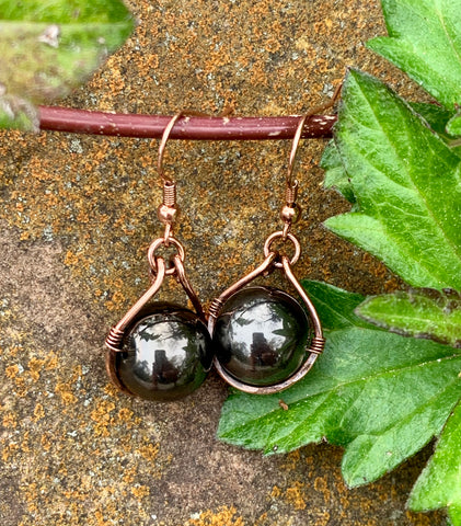 Hammered Copper Glass Bead Earrings