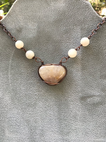 Tumbled San Jacinto River Rock and Sunstone necklace