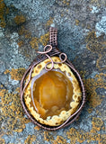 Tumbled Agate with Orbs, wrapped in Copper