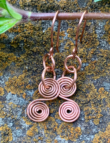 Shiny Curled Copper Earrings