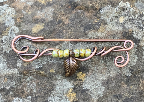 Copper Pin with Czech Glass beads and Leaf Accent