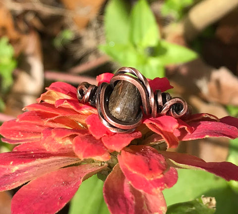 Petrified Wood and Copper Ring - Size 7