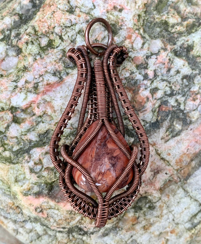 Tumbled Red Jasper Pendant in wire wrapped Copper