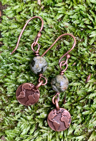 Rainforest Jasper Earth Earrings