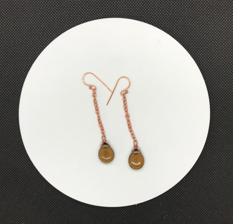 Czech Glass Drops and Copper Earrings