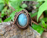 Labradorite and Copper Adjustable Ring