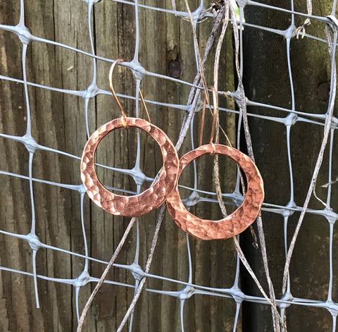 Shiny Hammered Copper Earrings