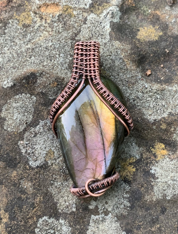 Beautiful Plink Labradorite Pendant wrapped in Copper
