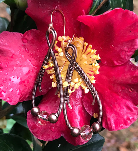 Woven Copper Earrings with Glass and Copper Beads