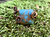 Blue Impression Jasper and Copper Ring - adjustable