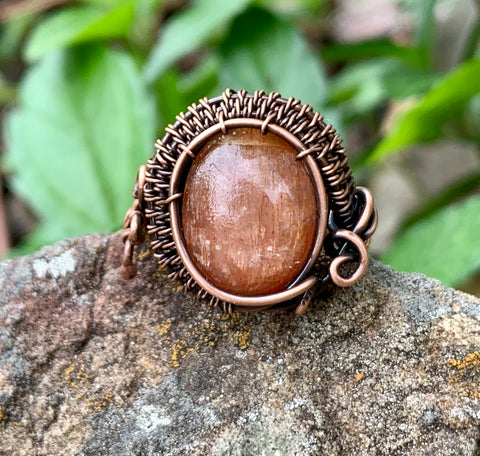 Sunstone and Copper Ring - adjustable size 6-6 1/2
