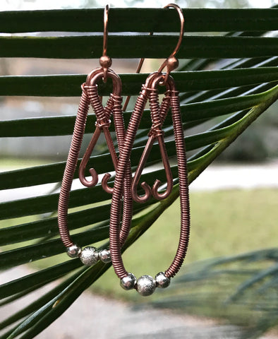 Coiled Copper Earrings with Silvertone Beads