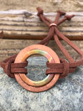 Torched Copper Washer and Leather Bracelet - adjustable