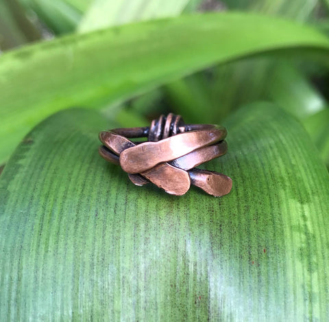 Copper Stacked Ring - size 6 1/2